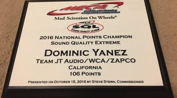 Team Zapco's Dominic Yanez 2016 MECA SQ Extreme National Points Champion